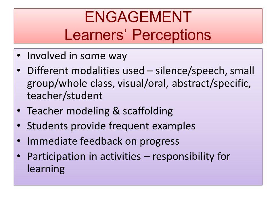 ENGAGEMENT Learners' Perceptions