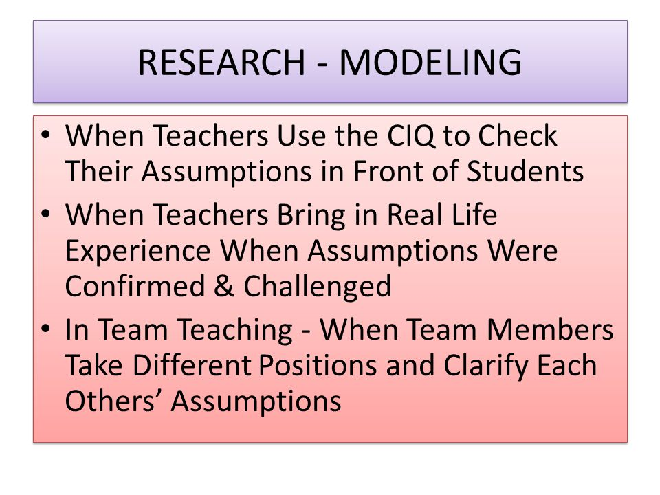 RESEARCH - MODELING When Teachers Use the CIQ to Check Their Assumptions in Front of Students.