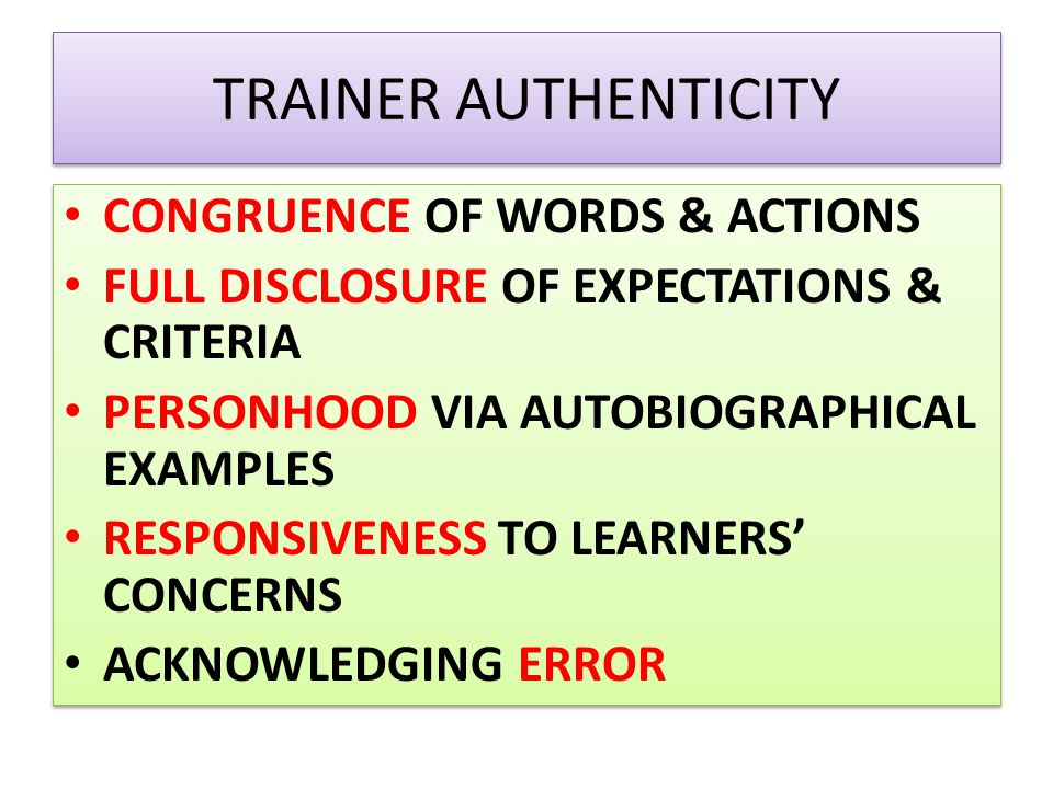 TRAINER AUTHENTICITY CONGRUENCE OF WORDS & ACTIONS