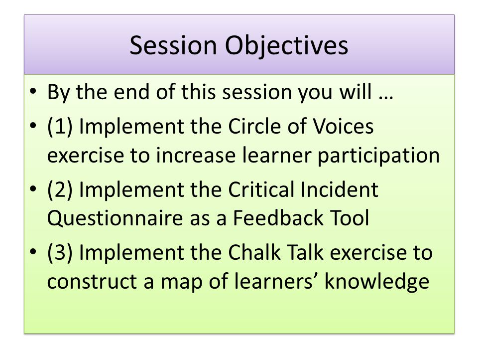 Session Objectives By the end of this session you will …