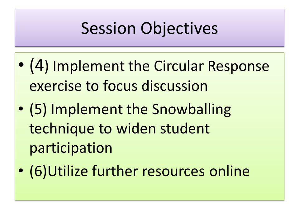 (4) Implement the Circular Response exercise to focus discussion