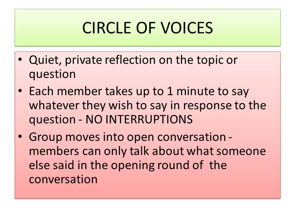 CIRCLE OF VOICES Quiet, private reflection on the topic or question