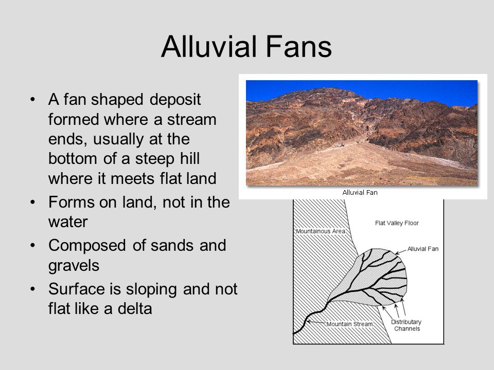 Alluvial Fans A fan shaped deposit formed where a stream ends, usually at the bottom of a steep hill where it meets flat land.