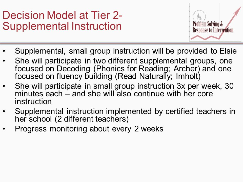 Decision Model at Tier 2- Supplemental Instruction