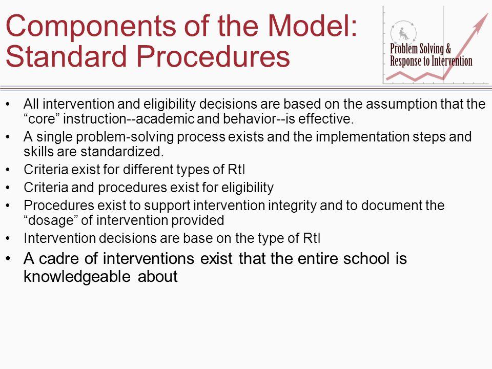 Components of the Model: Standard Procedures