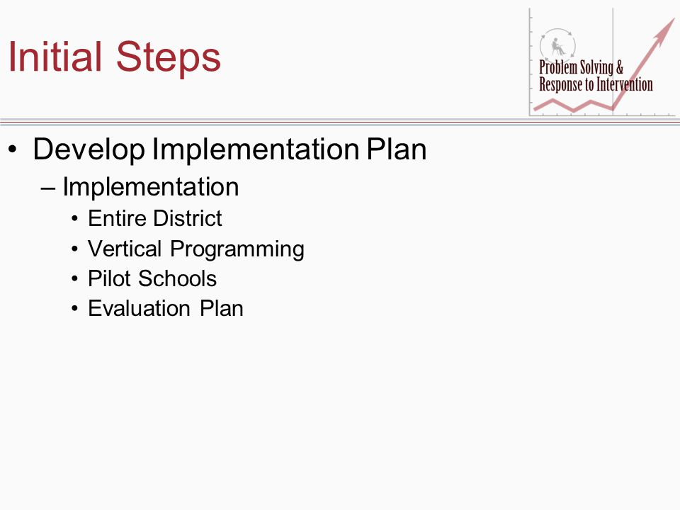 Initial Steps Develop Implementation Plan Implementation