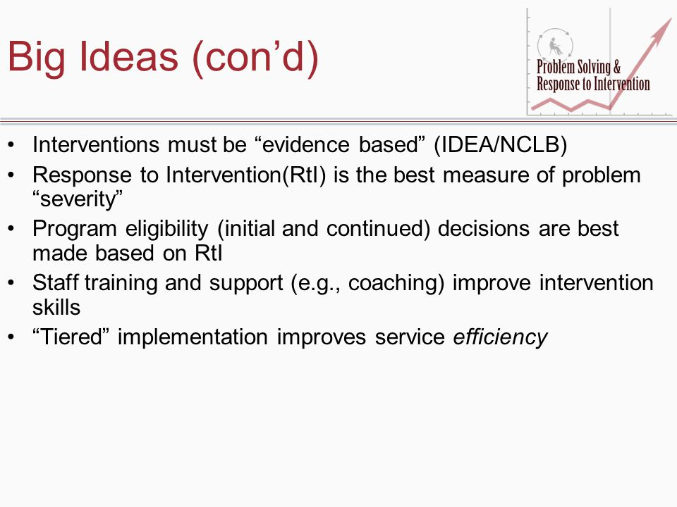 Big Ideas (con'd) Interventions must be evidence based (IDEA/NCLB)