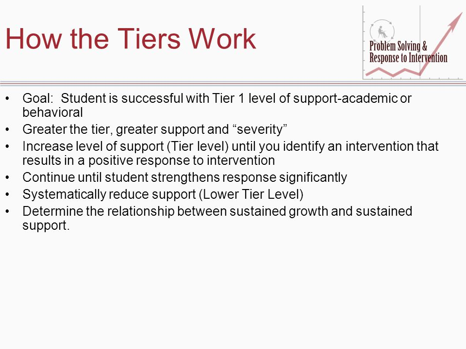 How the Tiers Work Goal: Student is successful with Tier 1 level of support-academic or behavioral.