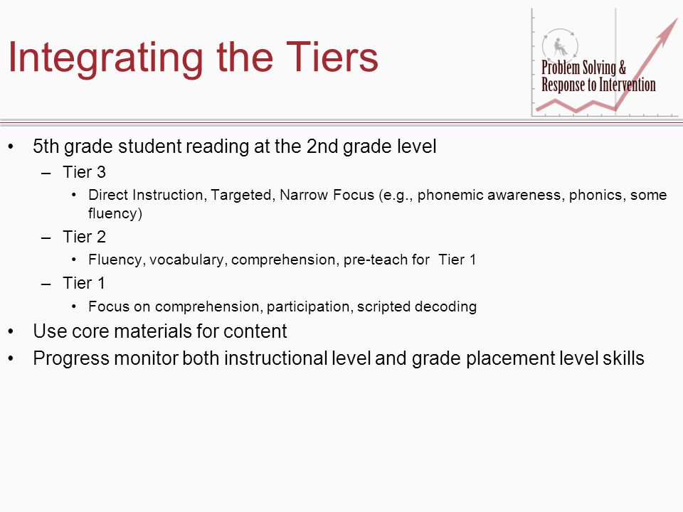 Integrating the Tiers 5th grade student reading at the 2nd grade level