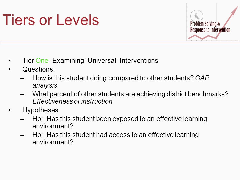 Tiers or Levels Tier One- Examining Universal Interventions