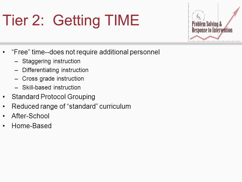 Tier 2: Getting TIME Free time--does not require additional personnel. Staggering instruction. Differentiating instruction.