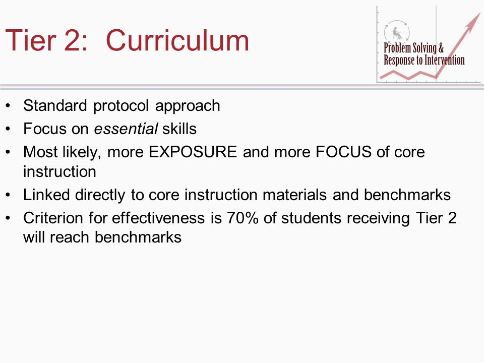 Tier 2: Curriculum Standard protocol approach