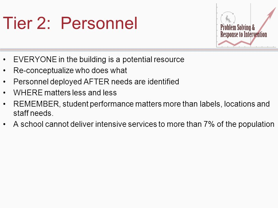 Tier 2: Personnel EVERYONE in the building is a potential resource