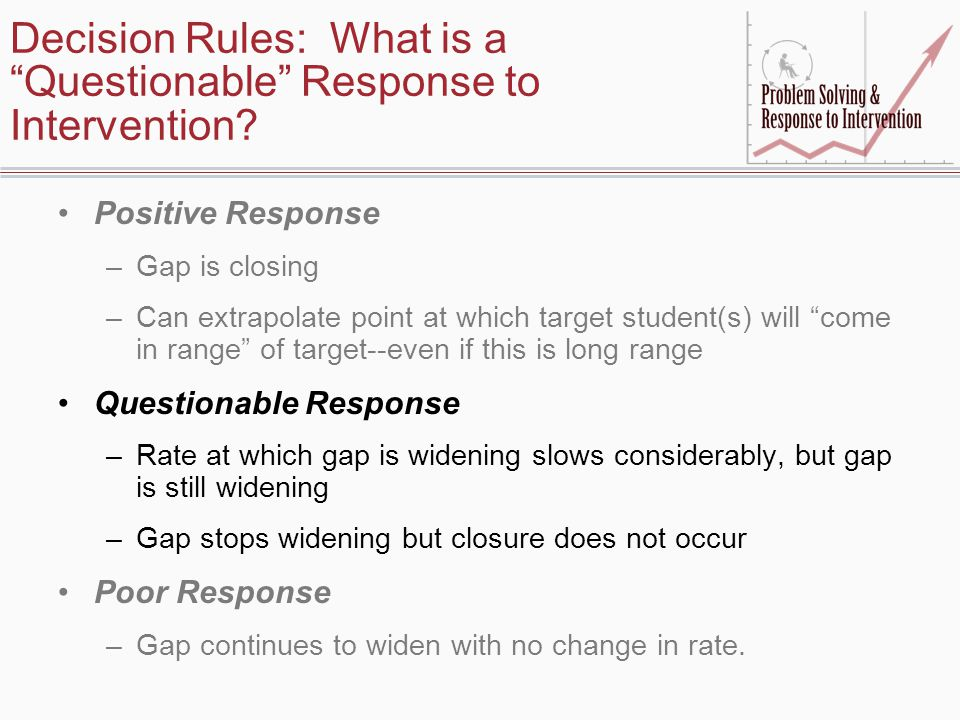 Decision Rules: What is a Questionable Response to Intervention