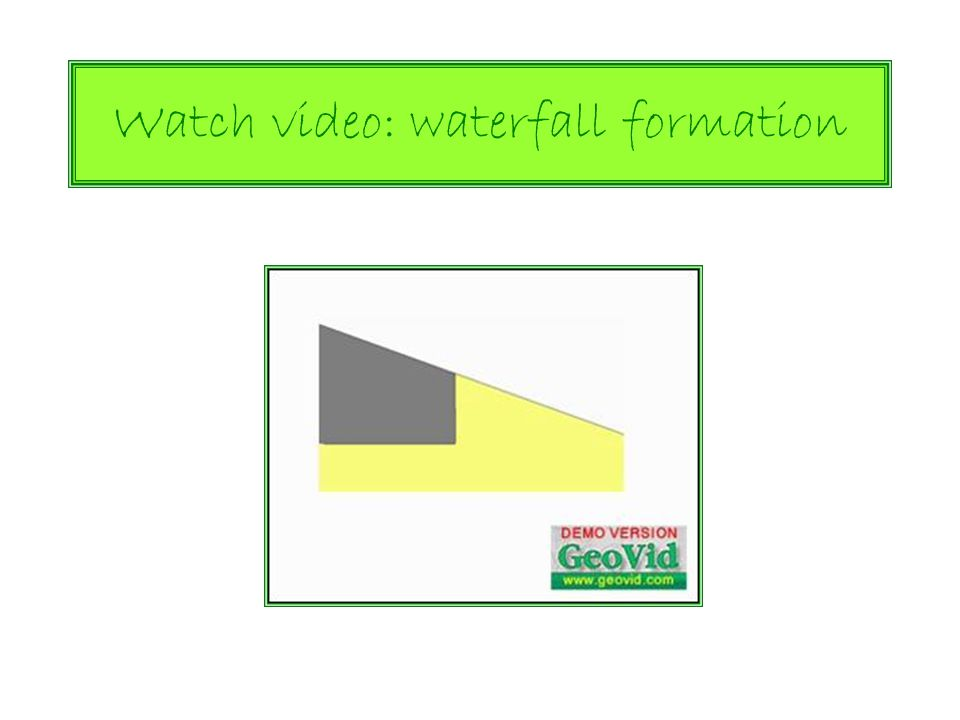 Watch video: waterfall formation