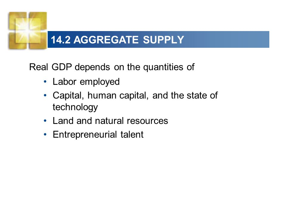 14.2 AGGREGATE SUPPLY Real GDP depends on the quantities of