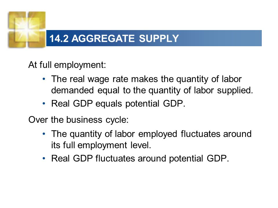 14.2 AGGREGATE SUPPLY At full employment: