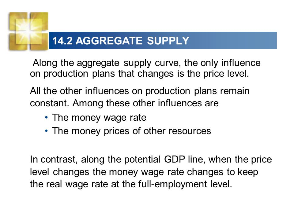14.2 AGGREGATE SUPPLY Along the aggregate supply curve, the only influence on production plans that changes is the price level.
