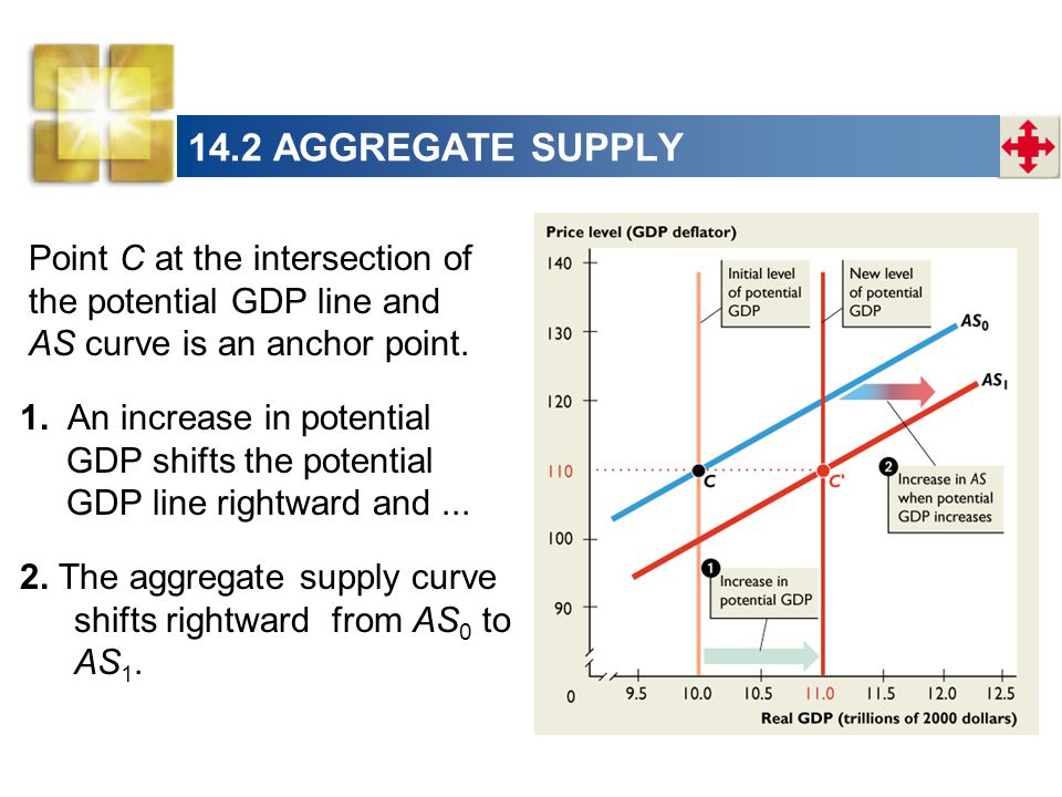 14.2 AGGREGATE SUPPLY Point C at the intersection of the potential GDP line and AS curve is an anchor point.
