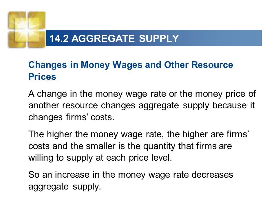 14.2 AGGREGATE SUPPLY Changes in Money Wages and Other Resource Prices