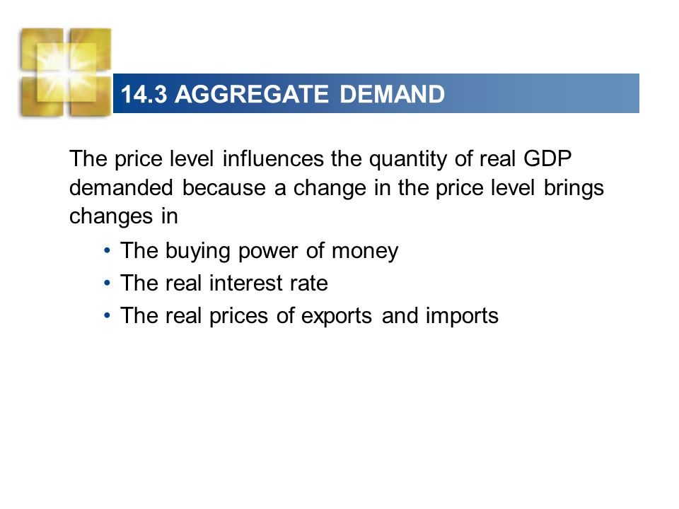 14.3 AGGREGATE DEMAND The price level influences the quantity of real GDP demanded because a change in the price level brings changes in.