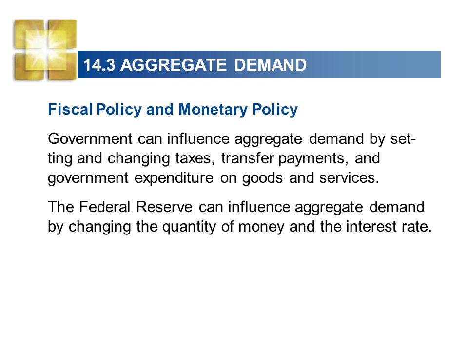 14.3 AGGREGATE DEMAND Fiscal Policy and Monetary Policy