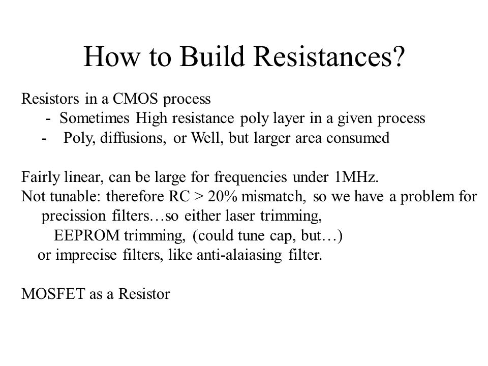 How to Build Resistances