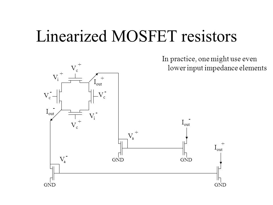 Linearized MOSFET resistors