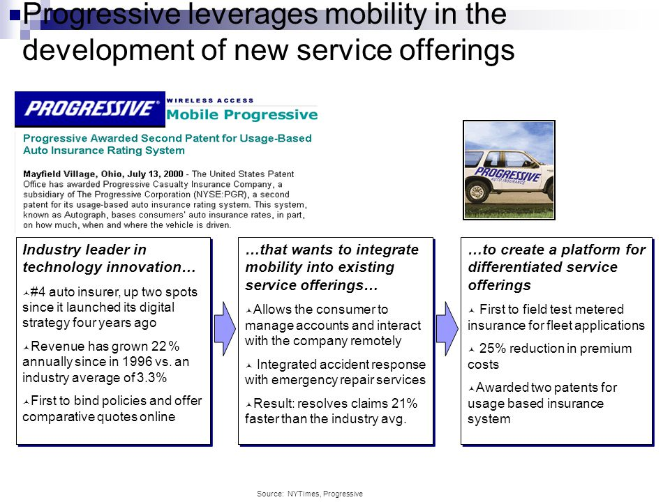 Progressive leverages mobility in the development of new service offerings