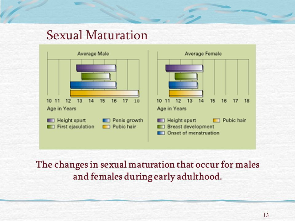 Sexual Maturation The changes in sexual maturation that occur for males and females during early adulthood.