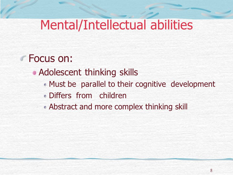 Mental/Intellectual abilities