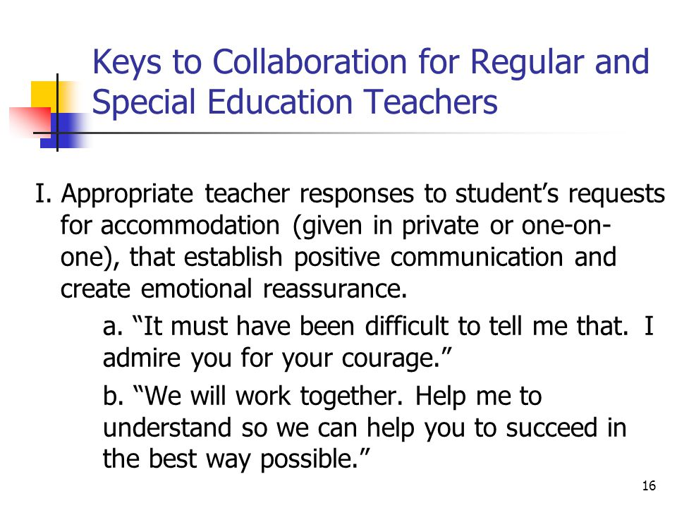 Keys to Collaboration for Regular and Special Education Teachers