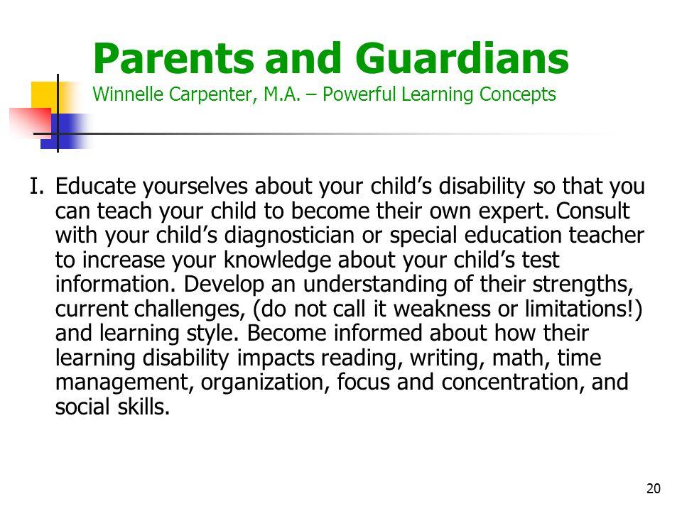 Parents and Guardians Winnelle Carpenter, M. A