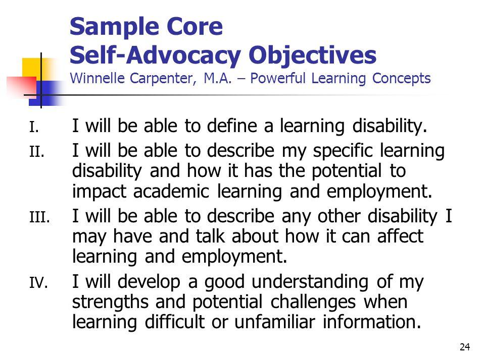 Sample Core Self-Advocacy Objectives Winnelle Carpenter, M. A
