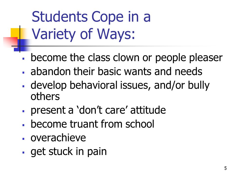 Students Cope in a Variety of Ways: