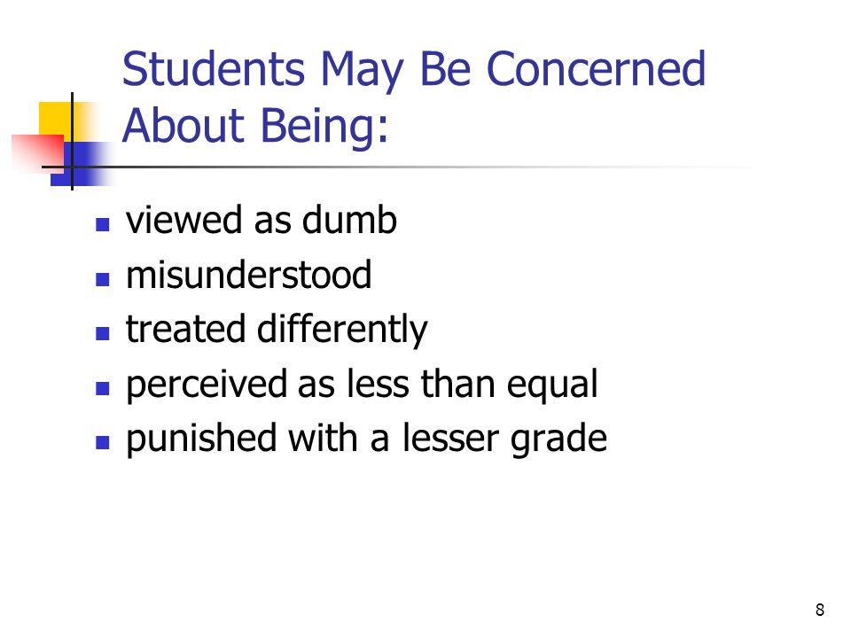 Students May Be Concerned About Being: