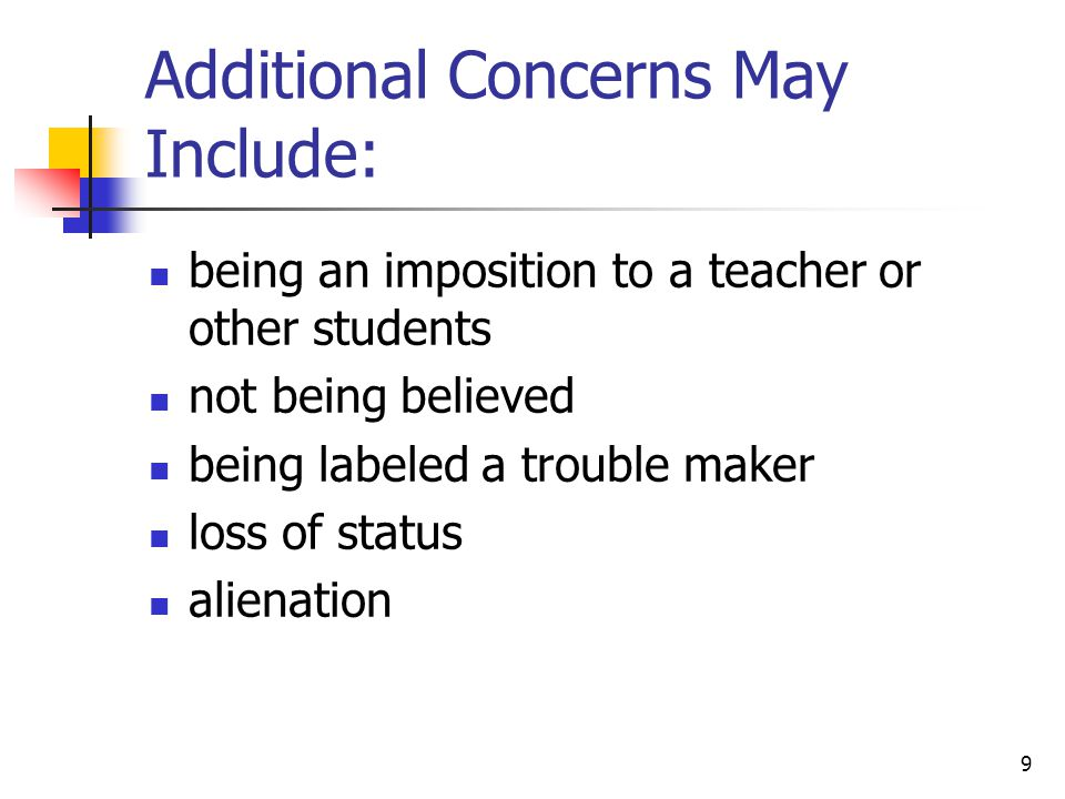 Additional Concerns May Include: