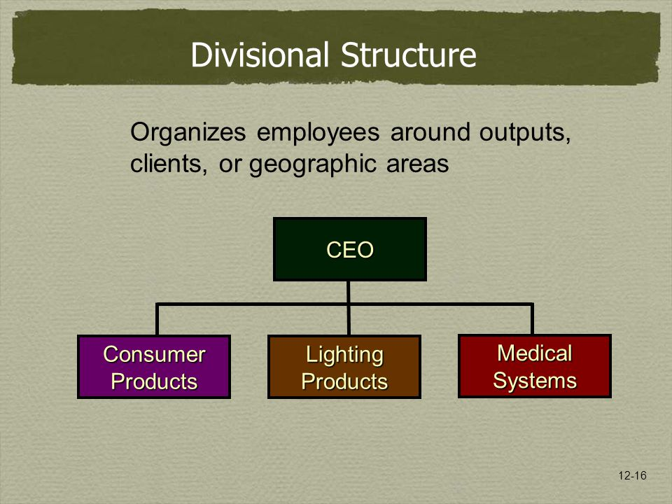 Divisional Structure Organizes employees around outputs, clients, or geographic areas. CEO. Consumer.