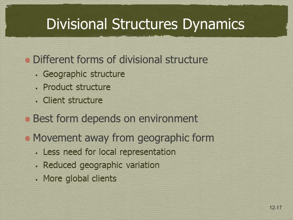 Divisional Structures Dynamics