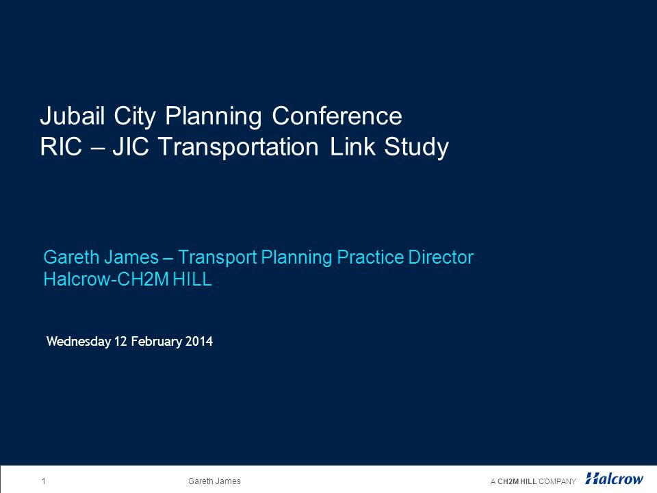 Jubail City Planning Conference RIC – JIC Transportation Link Study