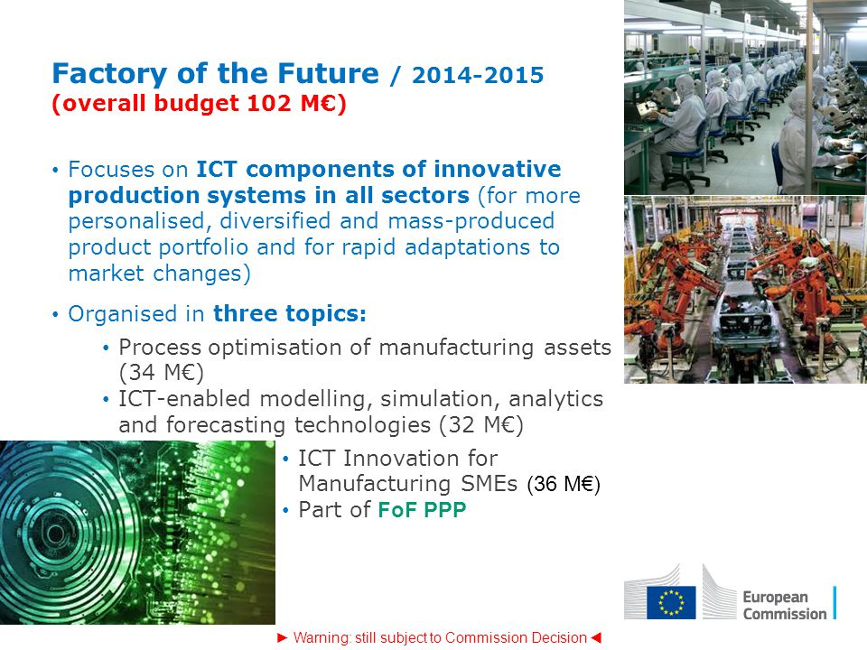 Factory of the Future / 2014-2015 (overall budget 102 M€)
