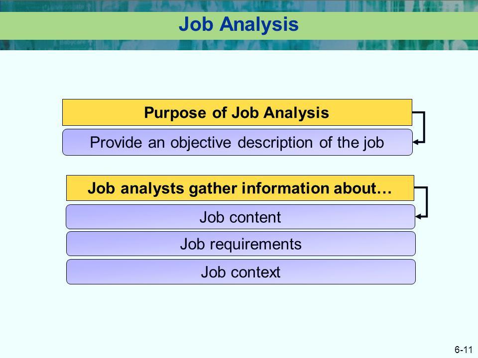 Purpose of Job Analysis Job analysts gather information about…