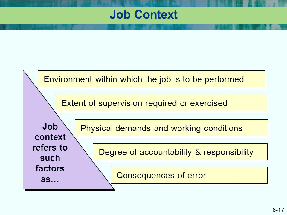 Job context refers to such factors as…