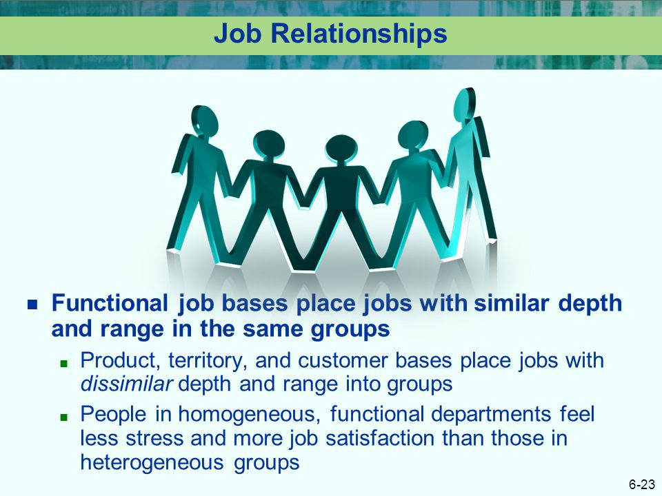 Job Relationships Functional job bases place jobs with similar depth and range in the same groups.