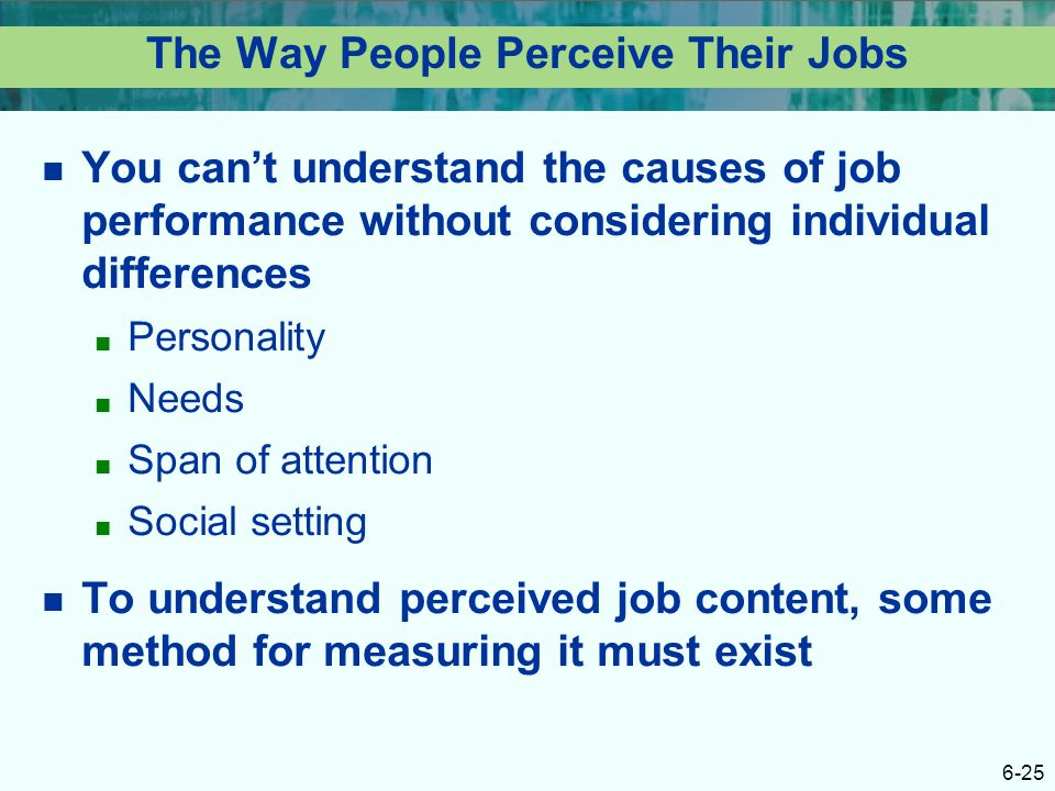 The Way People Perceive Their Jobs