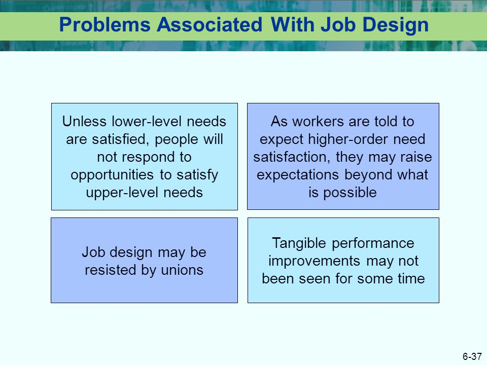 Problems Associated With Job Design