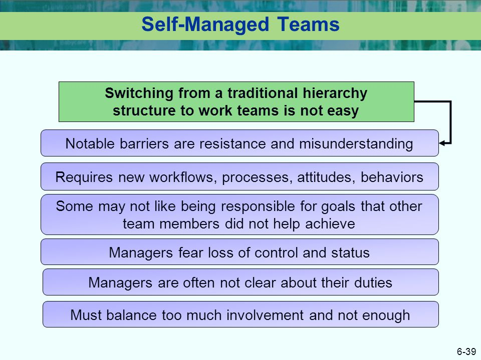Self-Managed Teams Switching from a traditional hierarchy structure to work teams is not easy. Notable barriers are resistance and misunderstanding.