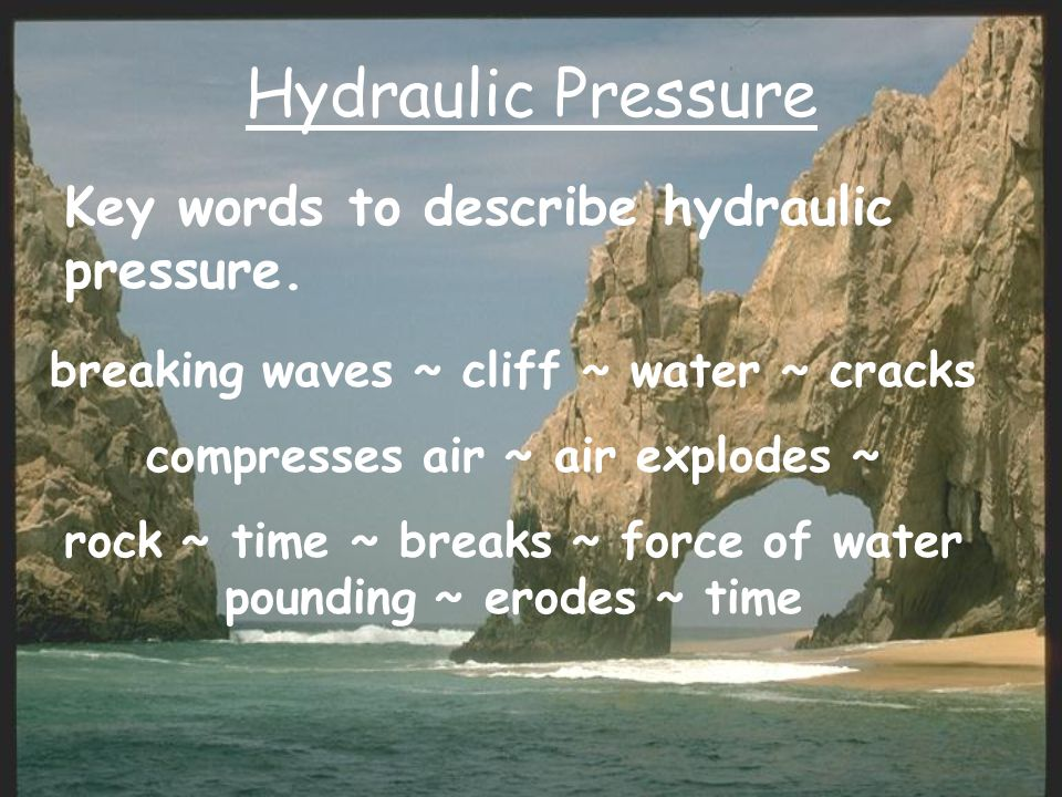 Hydraulic Pressure Key words to describe hydraulic pressure.