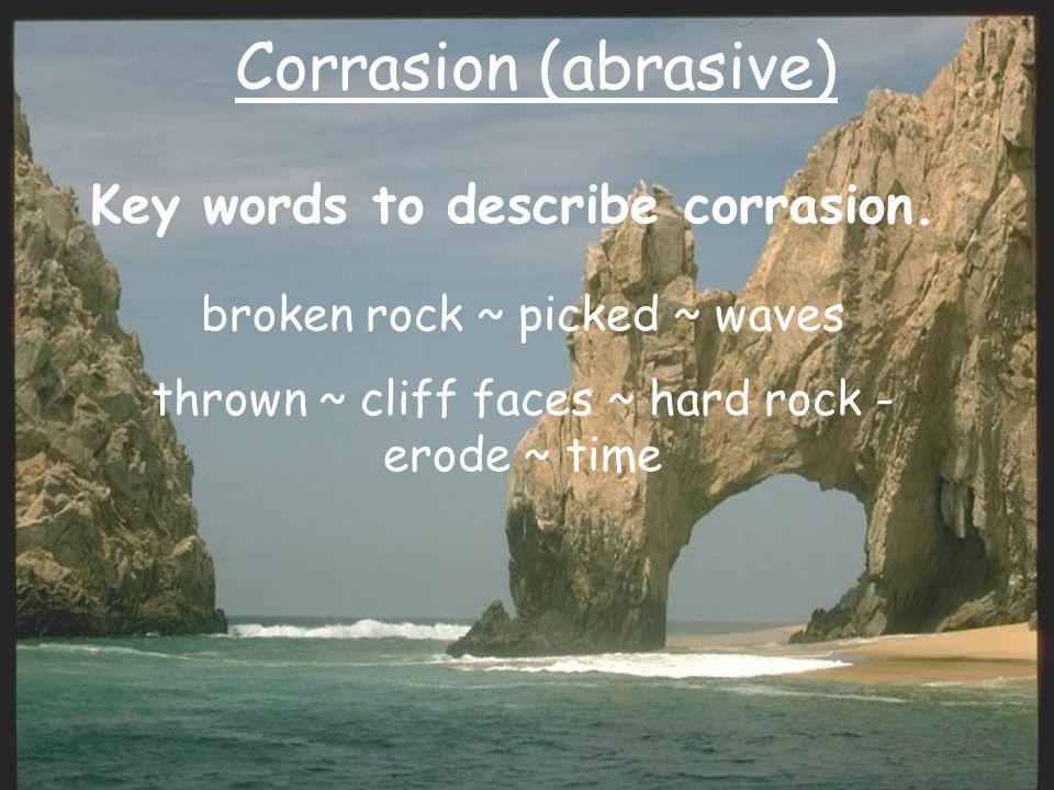 Corrasion (abrasive) Key words to describe corrasion.
