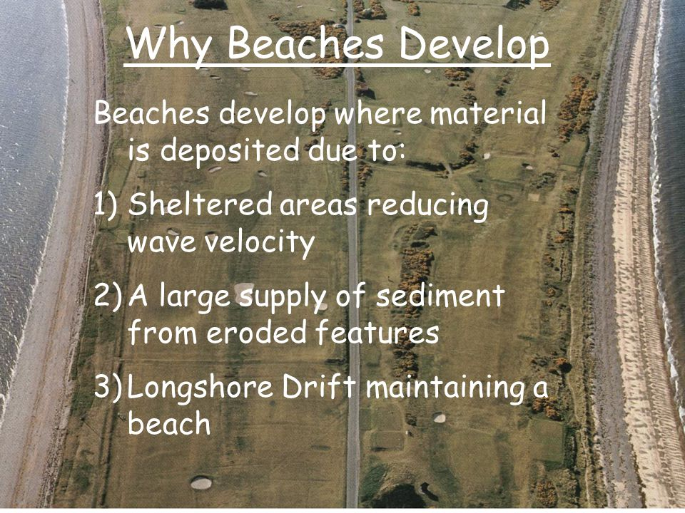 Why Beaches Develop Beaches develop where material is deposited due to: Sheltered areas reducing wave velocity.